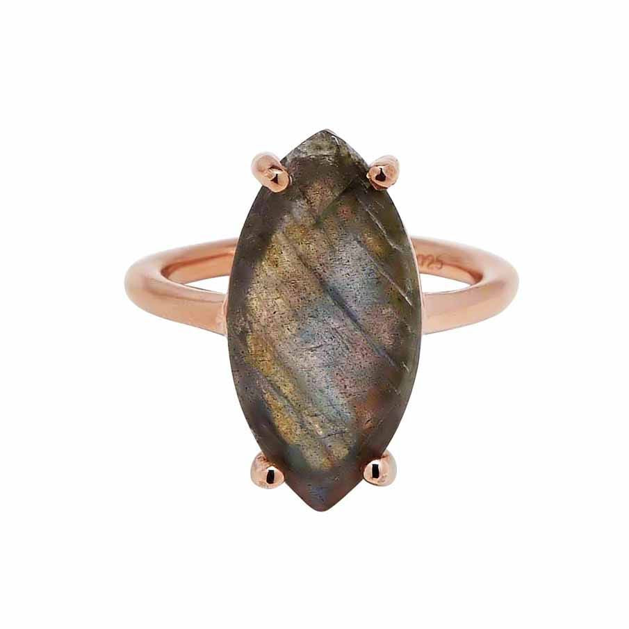 SALE - Labradorite Marquise Rose Gold Bezel Ring