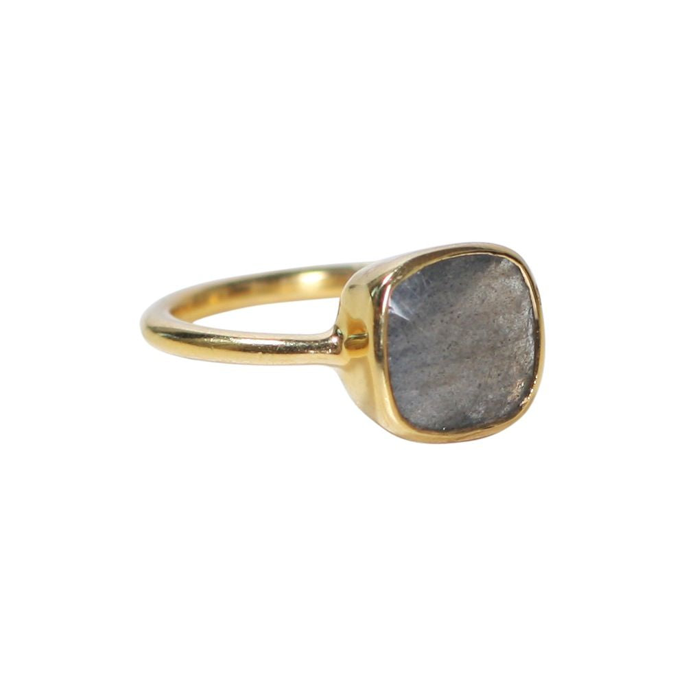 SALE - SMALL LABRADORITE SQUARE GOLD BEZEL RING