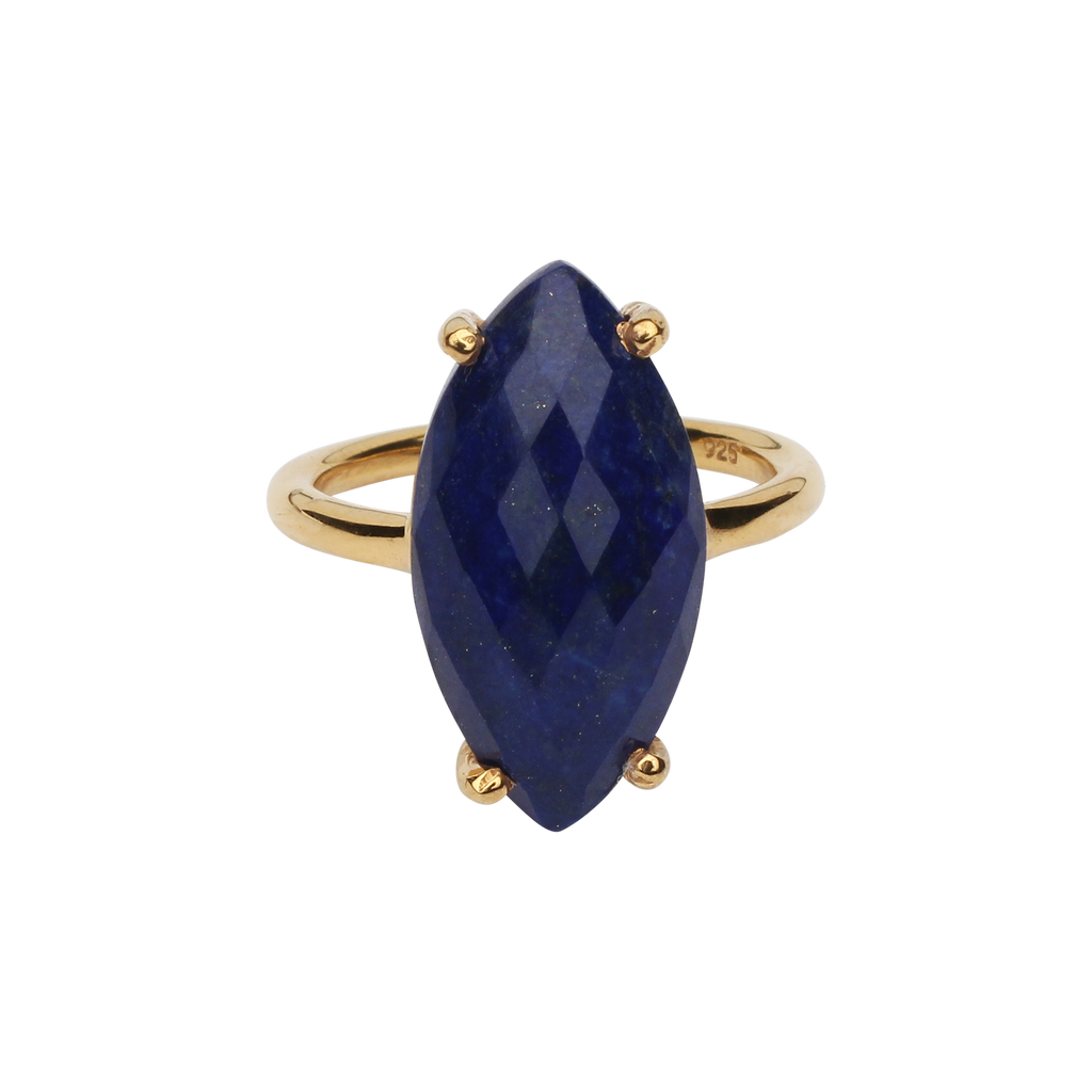 SALE - Lapis Marquise Gold Bezel Ring