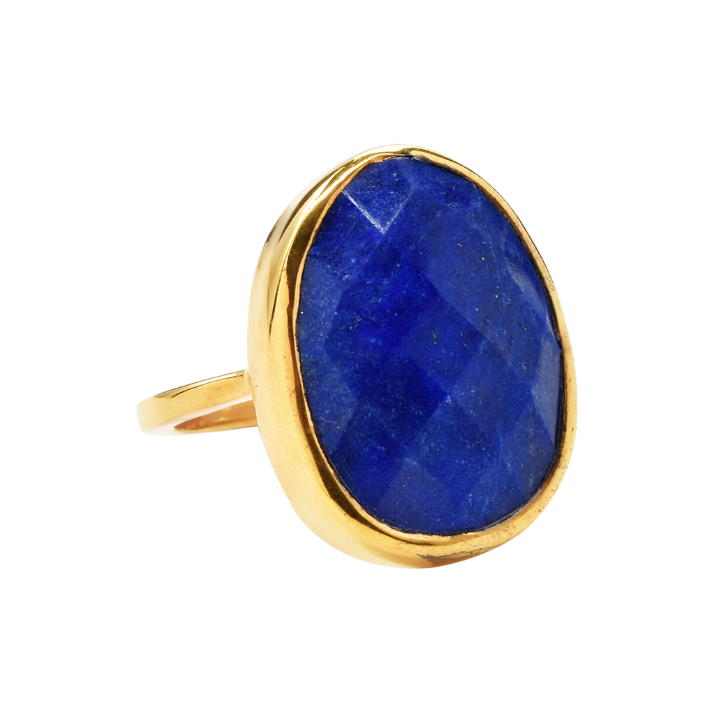 SALE - Large Lapis Oval Gold Bezel Ring