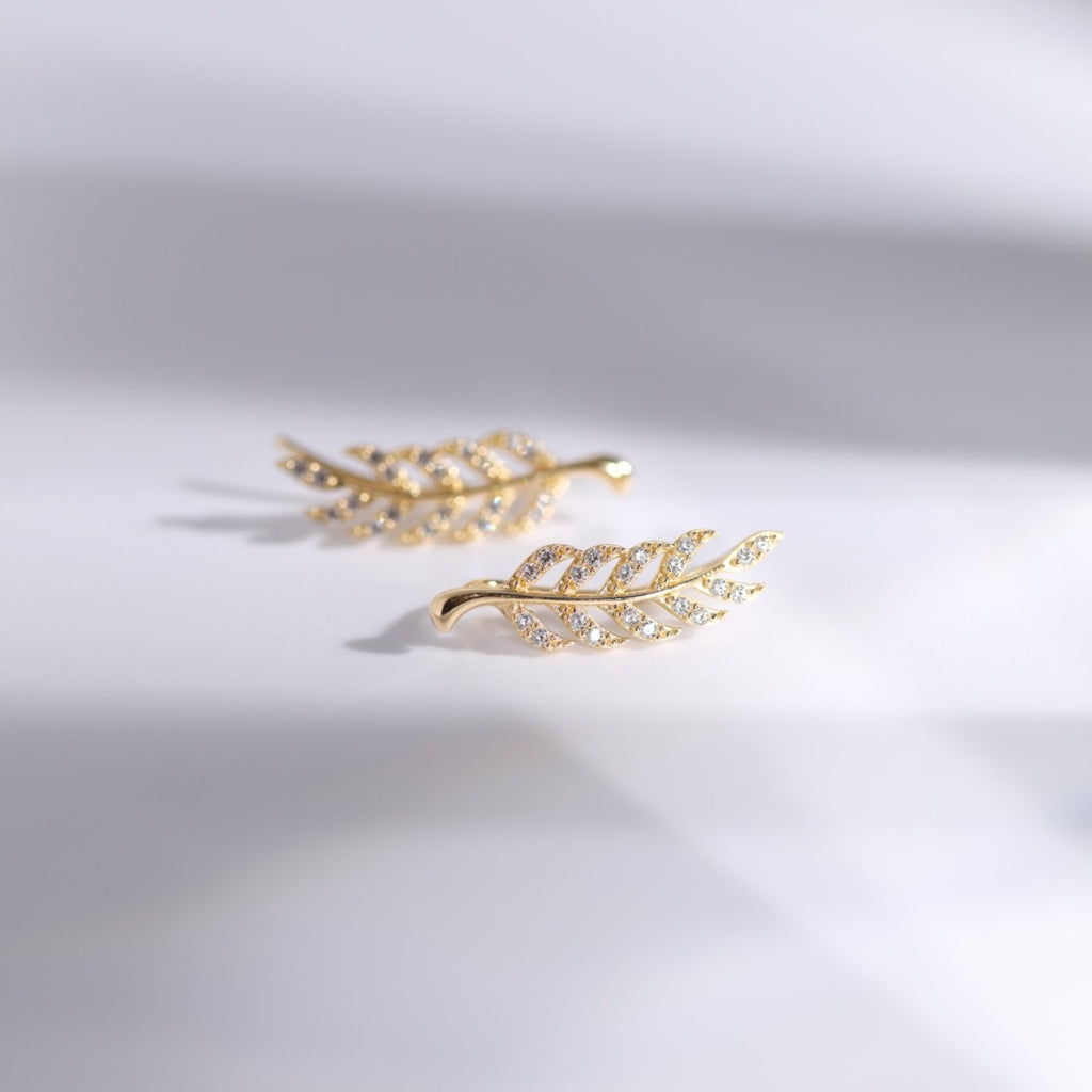 10K Solid Gold CZ Leaf Crawlers