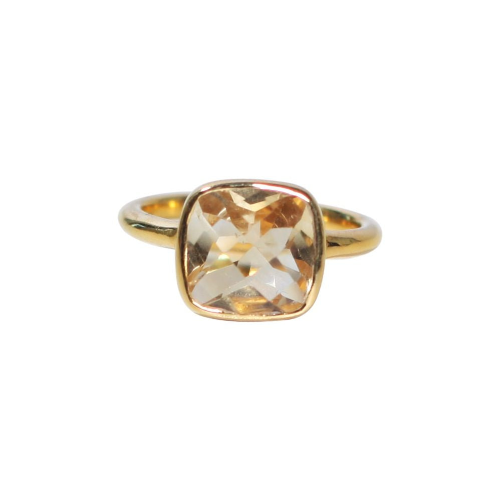 SALE - Small Lemon Quartz Square Gold Bezel Ring
