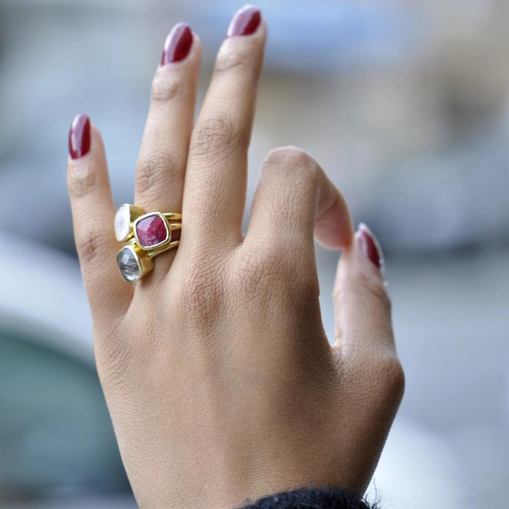 SALE - Small Ruby Square Gold Bezel Ring