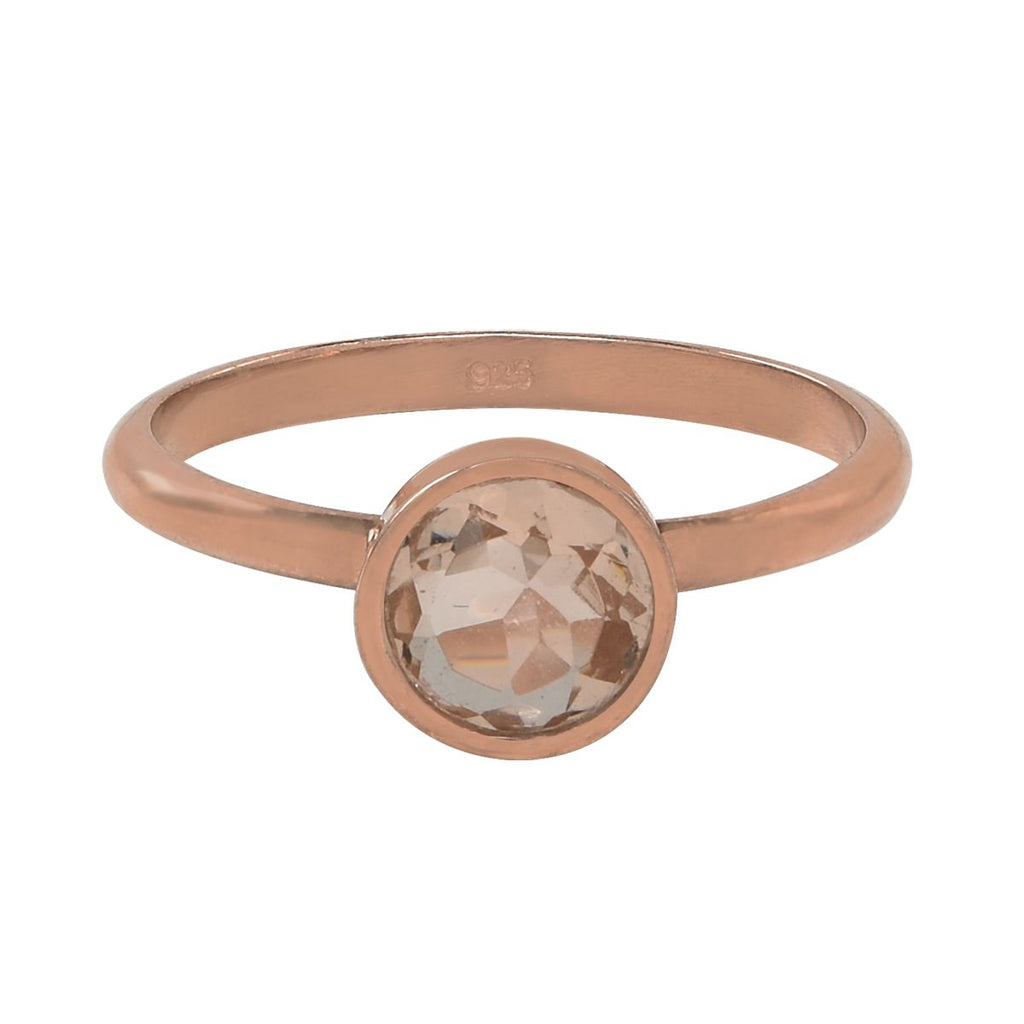 SALE - Round Morganite Rose Gold Bezel Ring