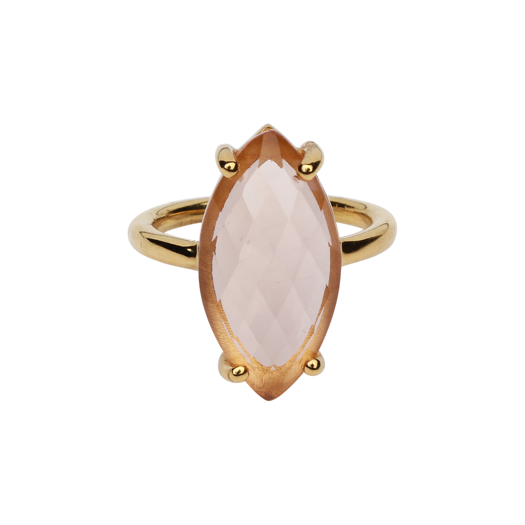 SALE - Morganite Marquise Gold Bezel Ring