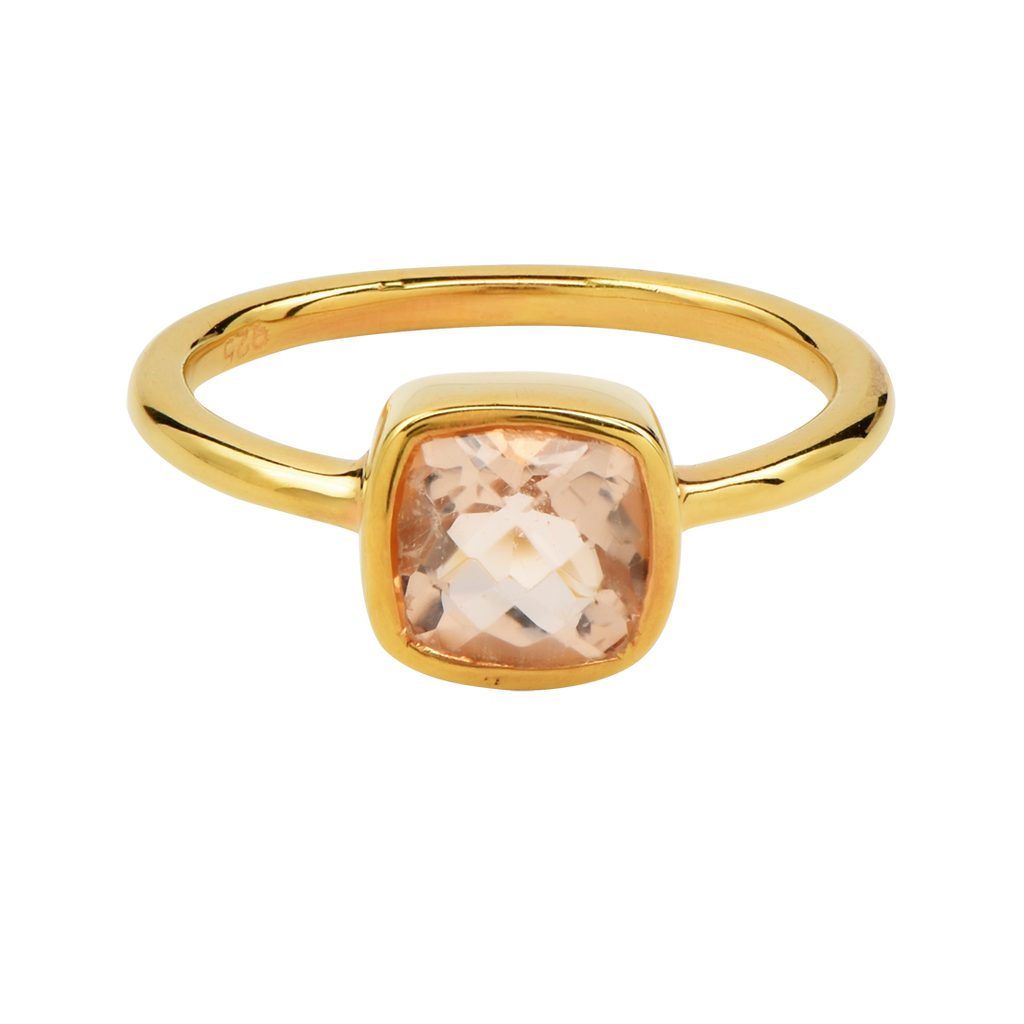 SALE - Mini Morganite Cushion Gold Bezel Ring
