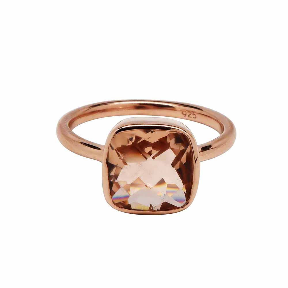 SALE - Small Morganite Square Rose Gold Bezel Ring