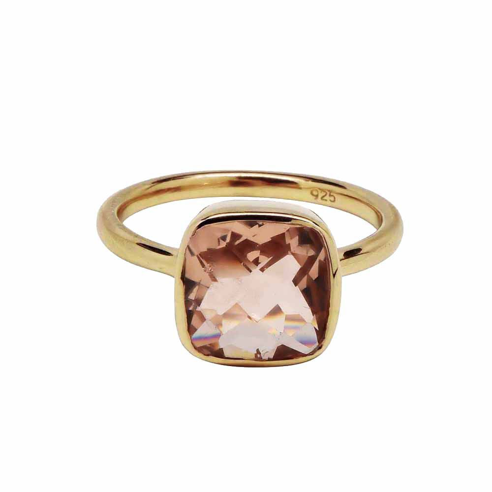 SALE - SMALL GOLD MORGANITE SQUARE GOLD BEZEL RING