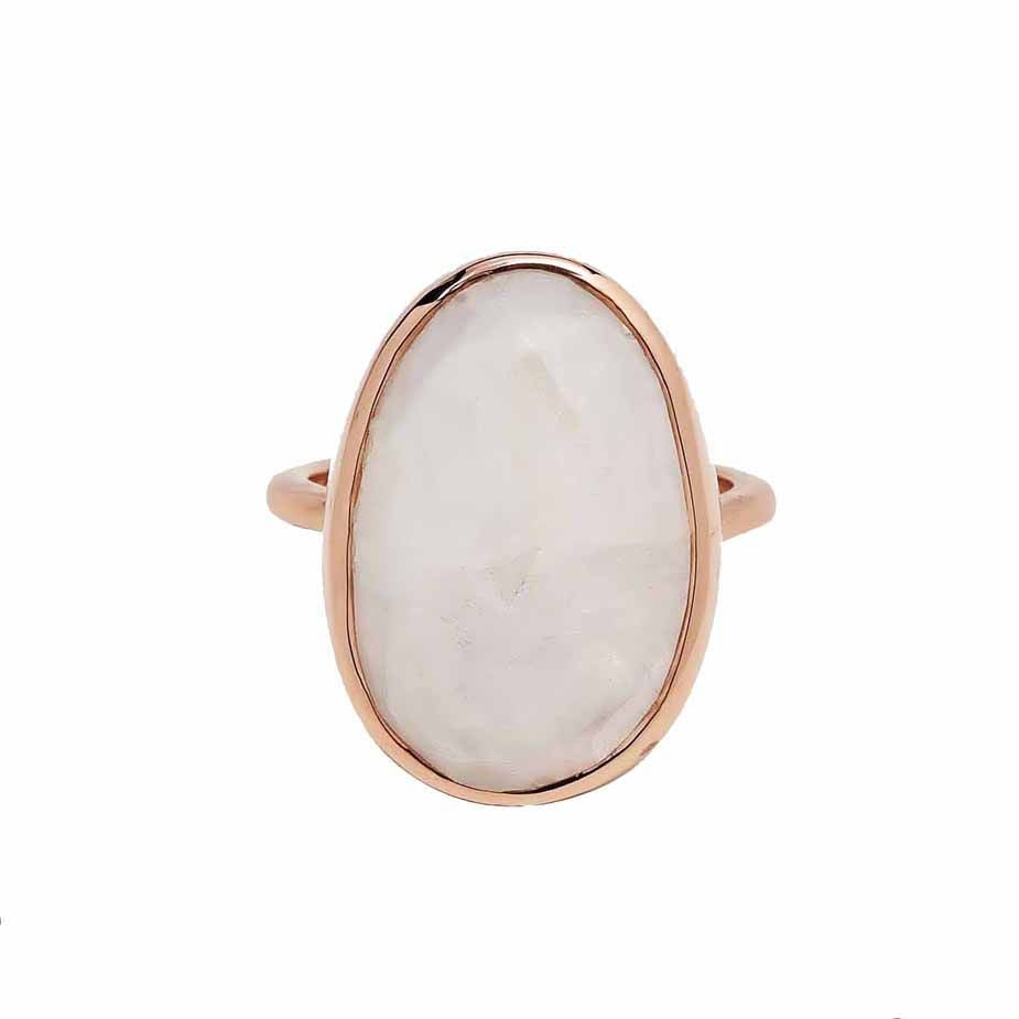 SALE - Large Moonstone Oval Rose Gold Bezel Ring