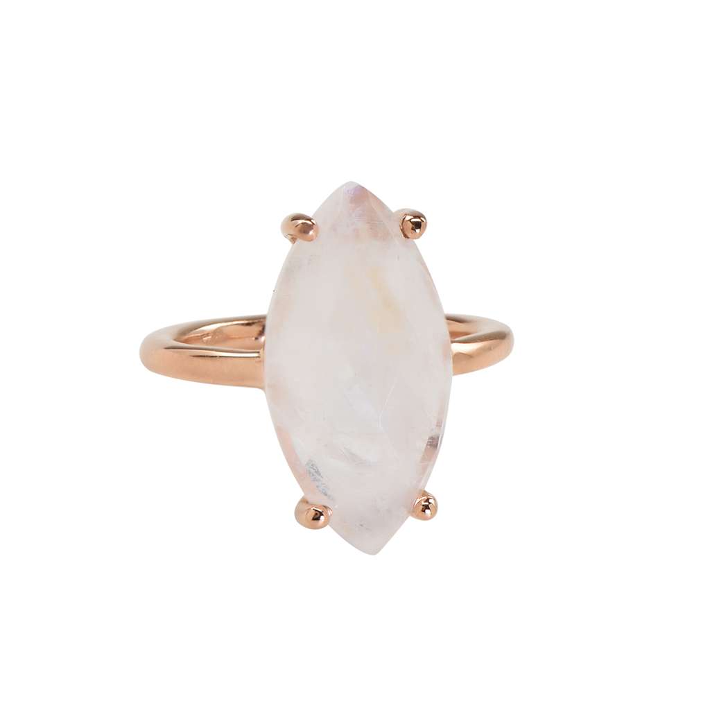SALE - Moonstone Marquise Rose Gold Bezel Ring
