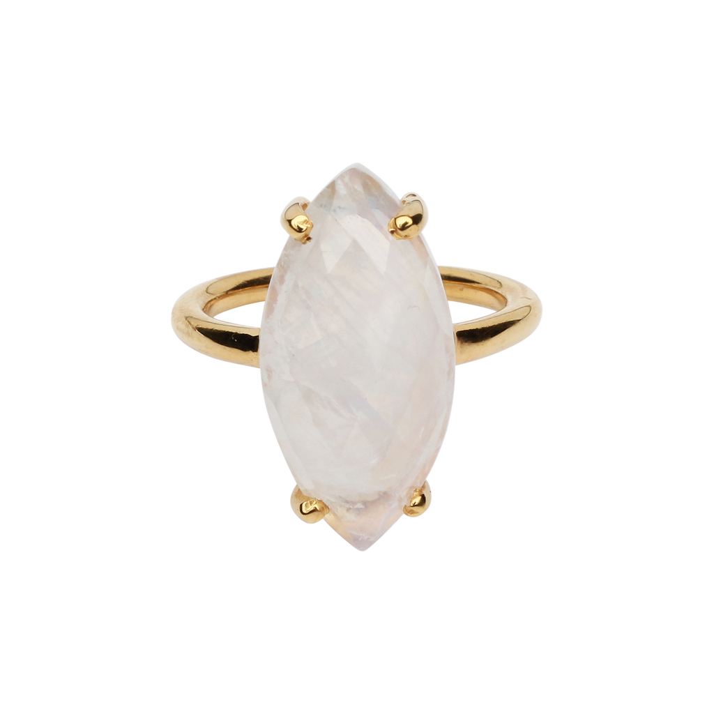 SALE - MOONSTONE MARQUISE GOLD BEZEL RING