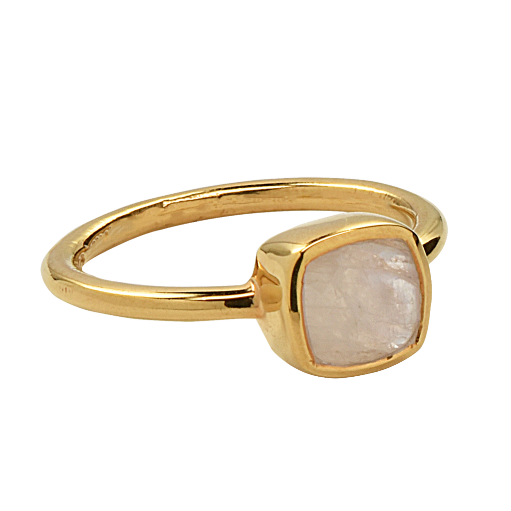 SALE - Mini Moonstone Cushion Gold Bezel Ring