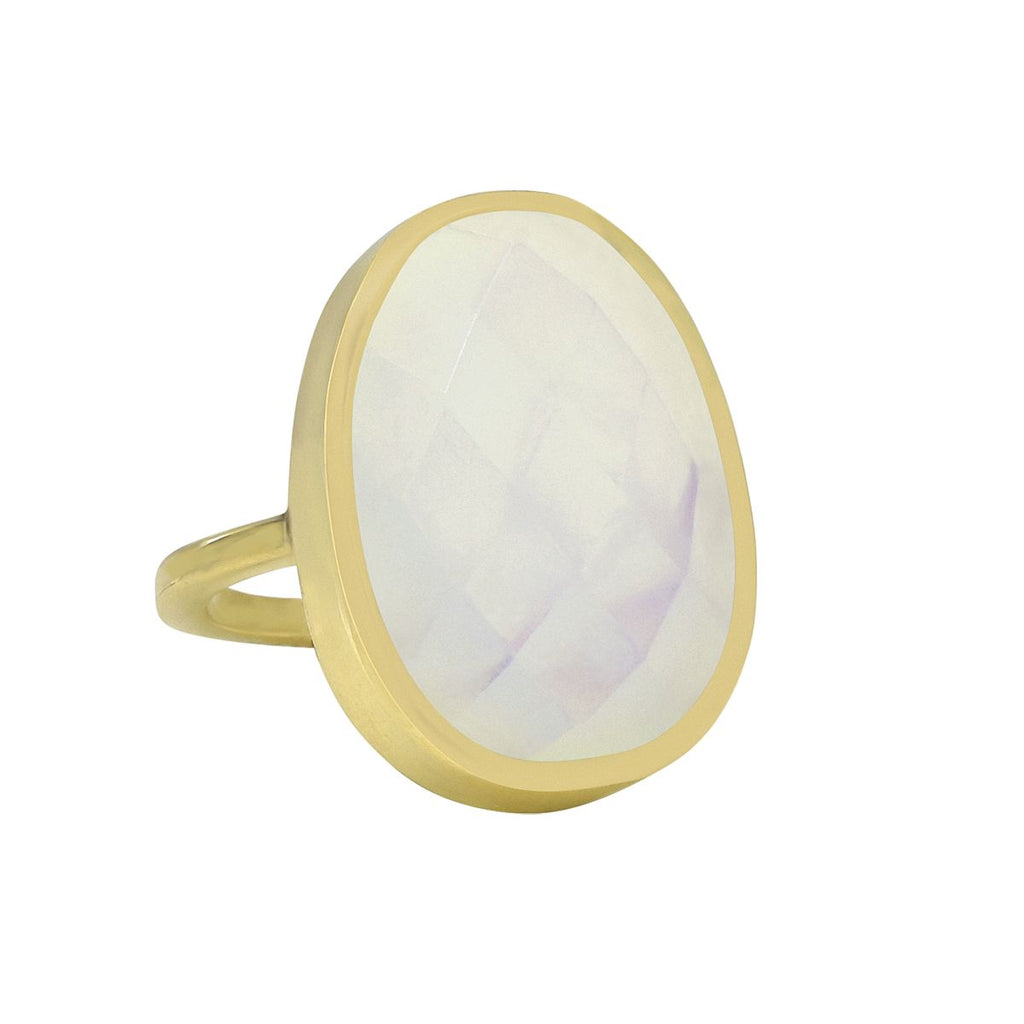 SALE - LARGE OPAL OVAL GOLD BEZEL RING