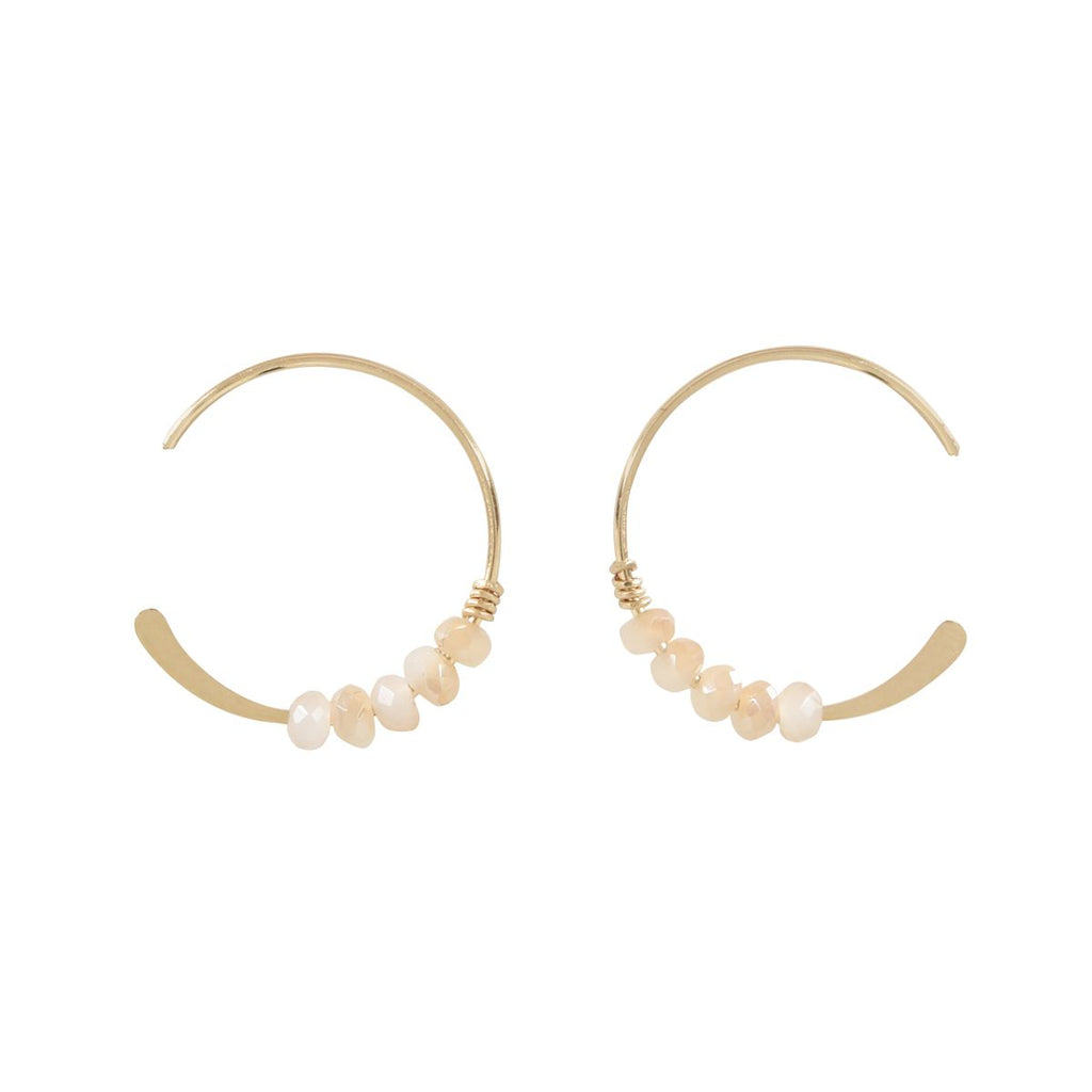SALE - 18mm Peach Moonstone Stone Hammered End Hoops