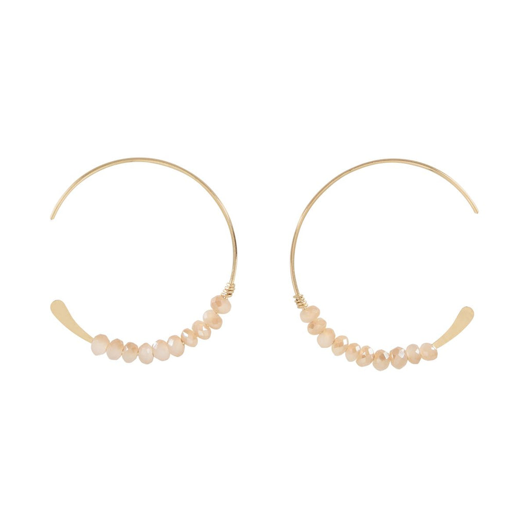 SALE - 26mm Peach Moonstone Hammered End Hoops