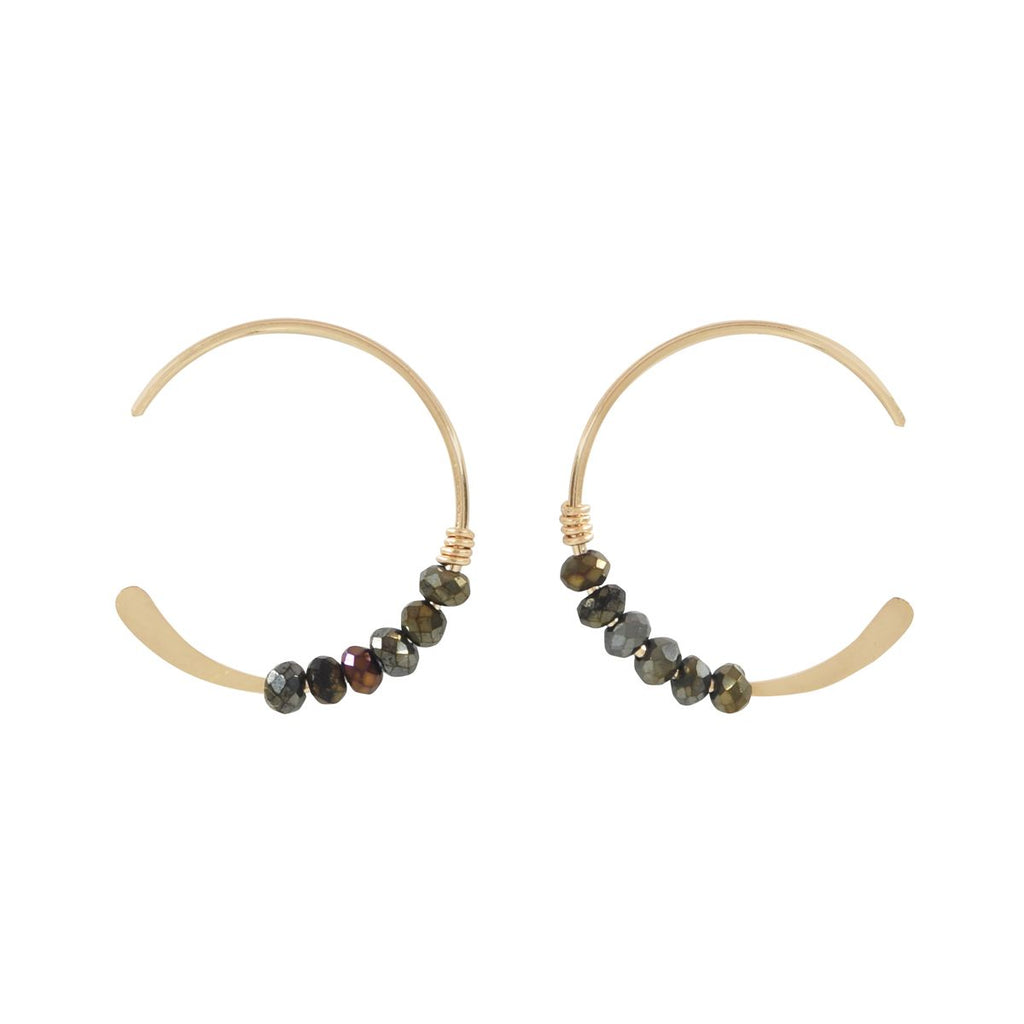SALE - 18mm Pyrite Stone Hammered End Hoops
