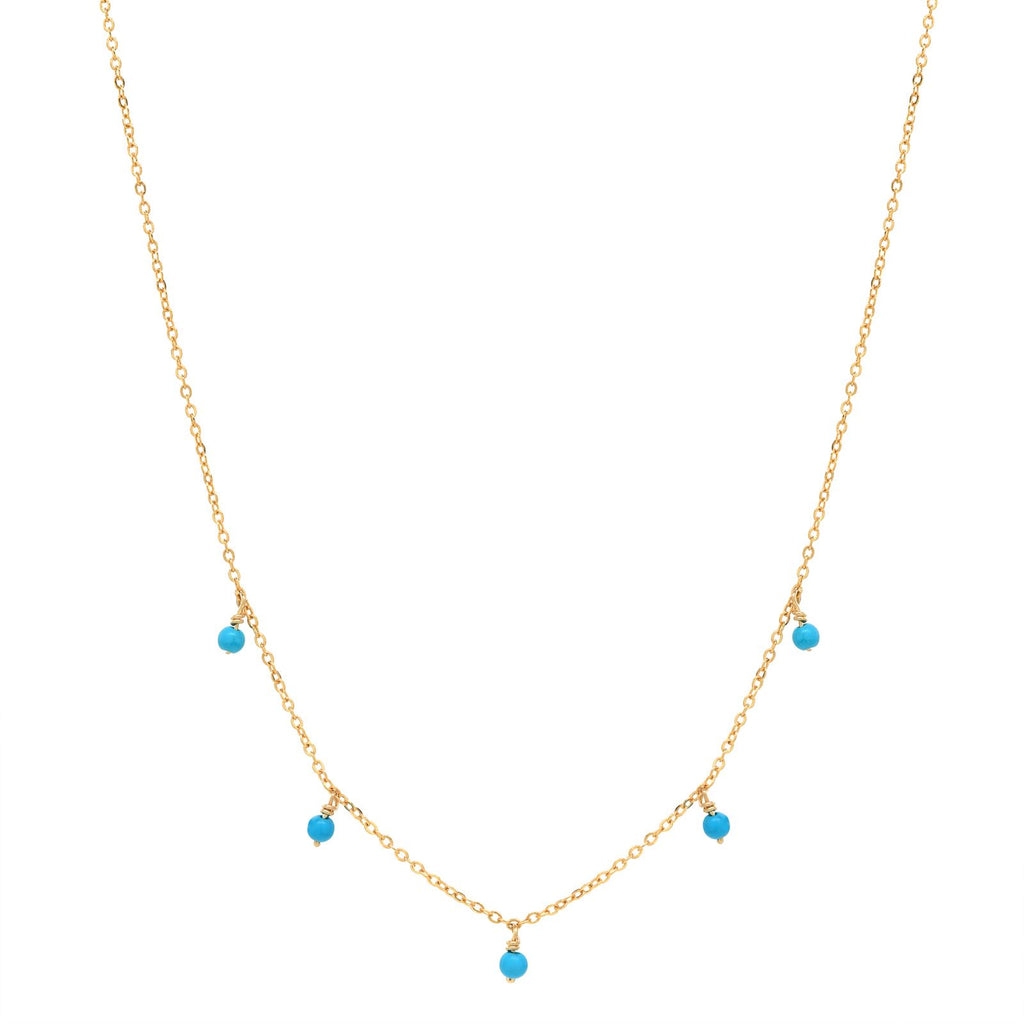 5 Tiny Turquoise Stone Drop Necklace