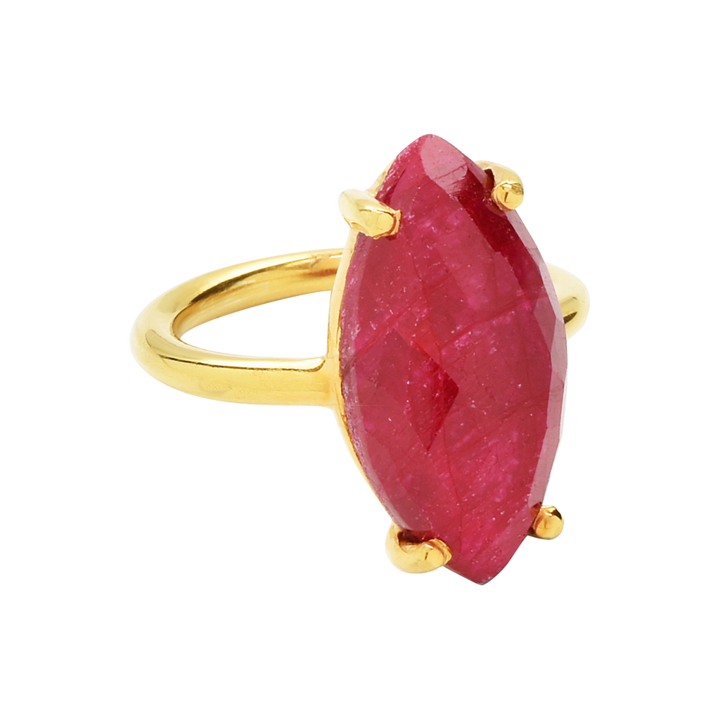 SALE - RUBY MARQUISE GOLD BEZEL RING