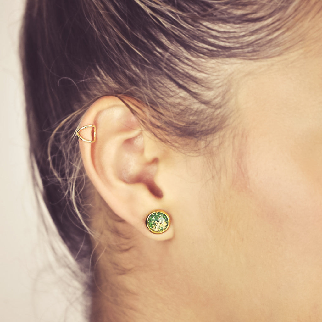 Resin Gold Fleck Brass Studs