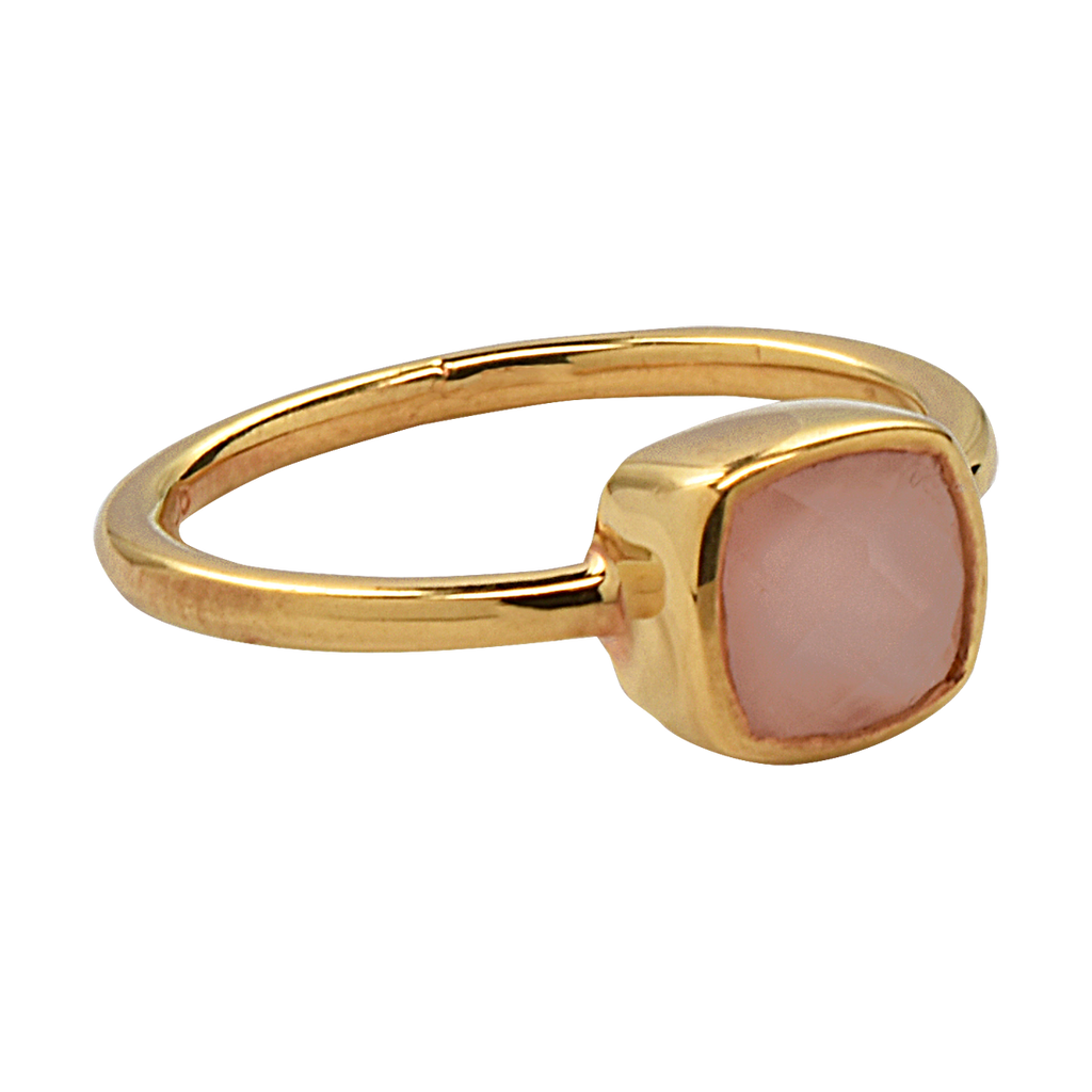 SALE - Mini Rose Quartz Cushion Gold Bezel Ring