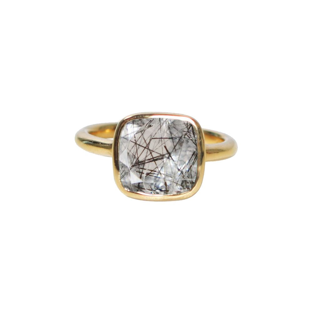 SALE - SMALL RUTILATED QUARTZ SQUARE GOLD BEZEL RING