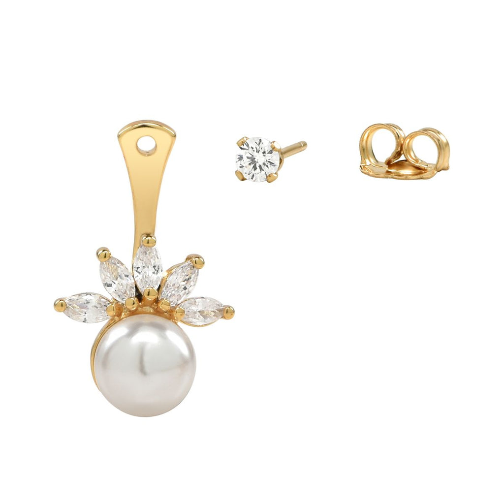 CZ/ Pearl Ear Jacket Earrings