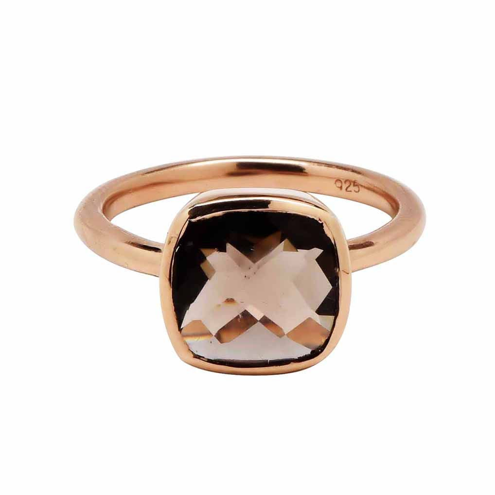 SALE - Small Smoky Quartz Square Rose Gold Bezel Ring