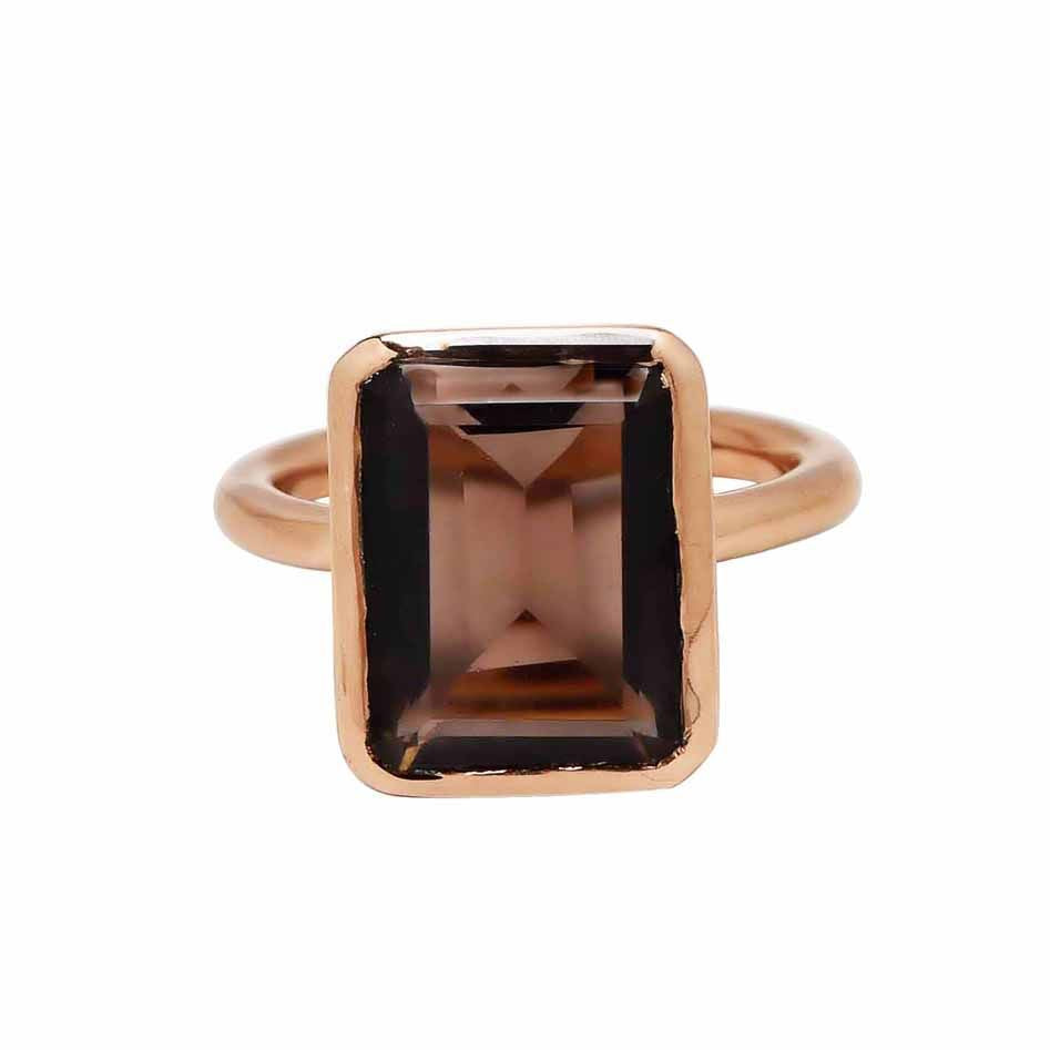 SALE - Large Smoky Quartz Baguette Rose Gold Bezel Ring