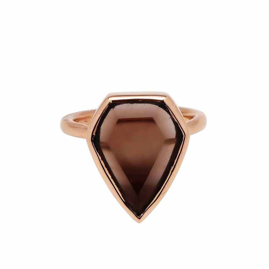 SALE - Smoky Quartz Diamond Shape Rose Gold Bezel Ring