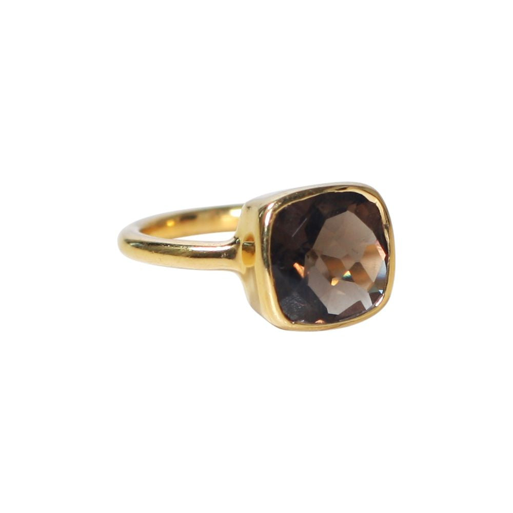 SALE - Small Smoky Quartz Square Gold Bezel Ring