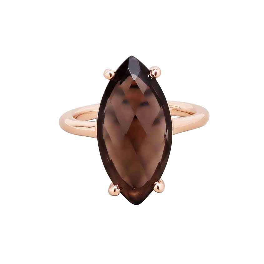 SALE - Smoky Quartz Marquise Rose Gold Bezel Ring