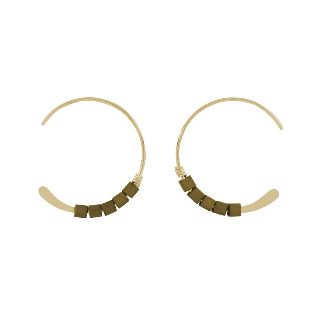 SALE - 18mm Squared Pyrite Stone Hammered End Hoops