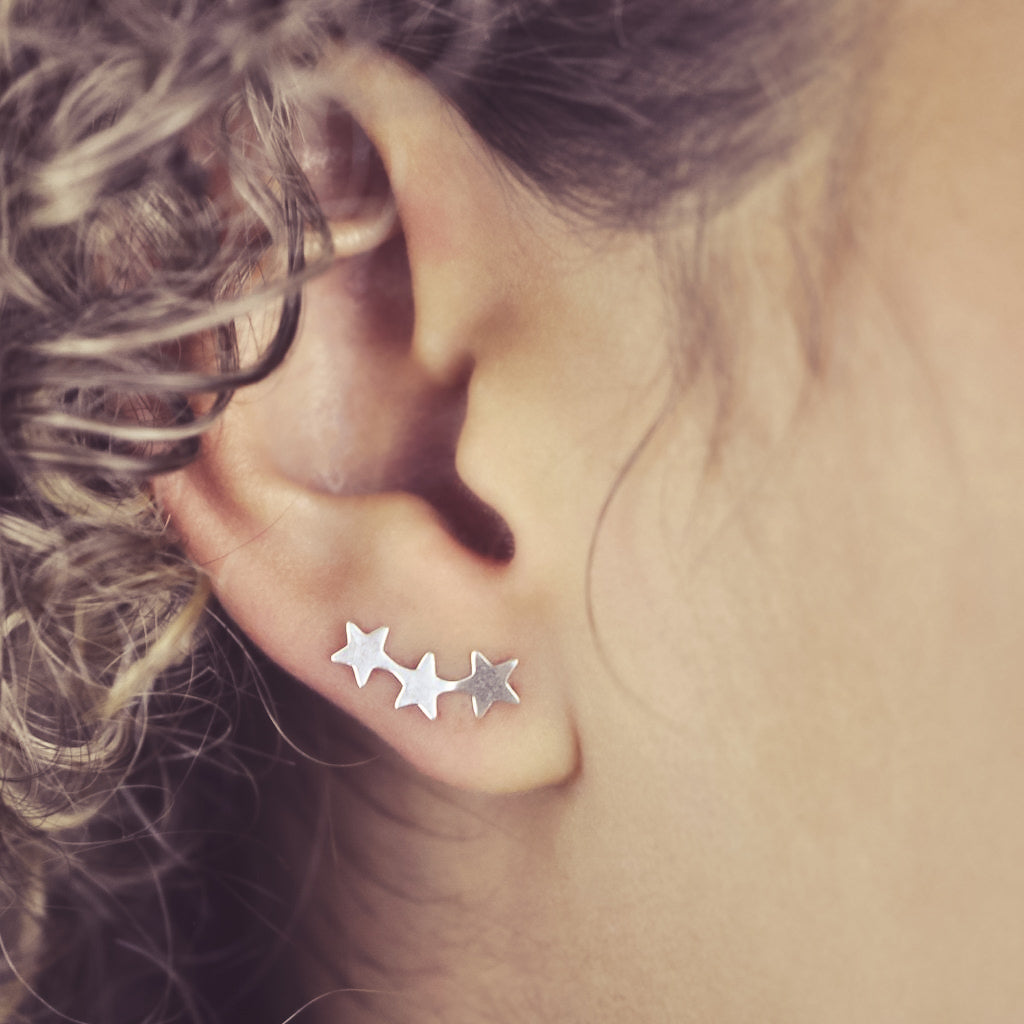SALE - Curved Triple Star Studs