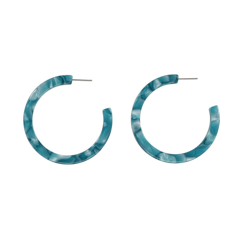 SALE - Teal Lucite Hoops