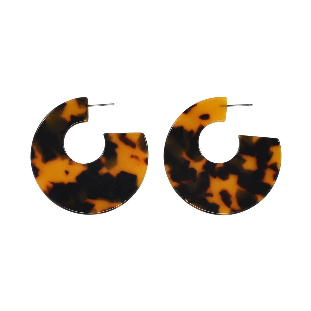 SALE - Tortoise Curved Lucite Hoops