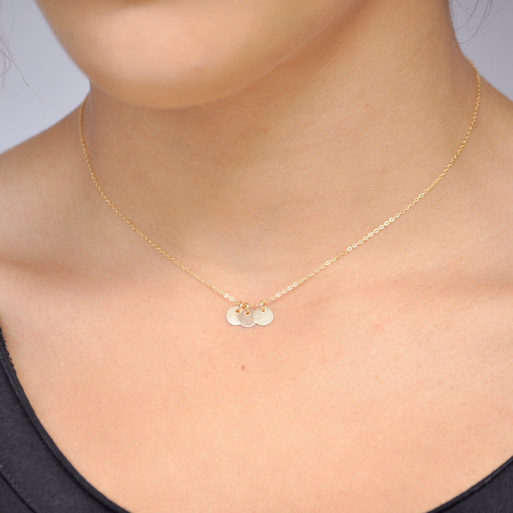 Tiny Triple Disc Choker Necklace