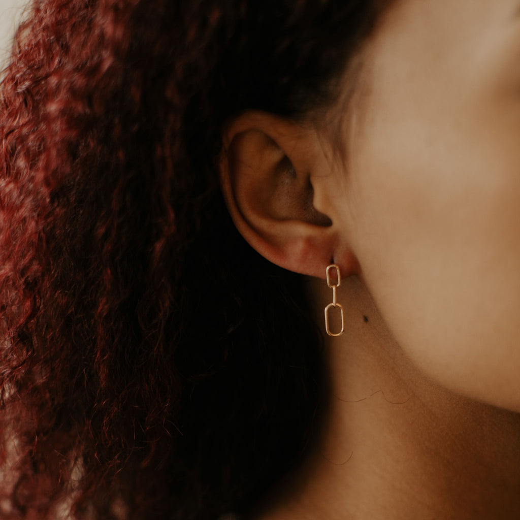 10k Solid Yellow Gold PaperClip Drop Earrings on model