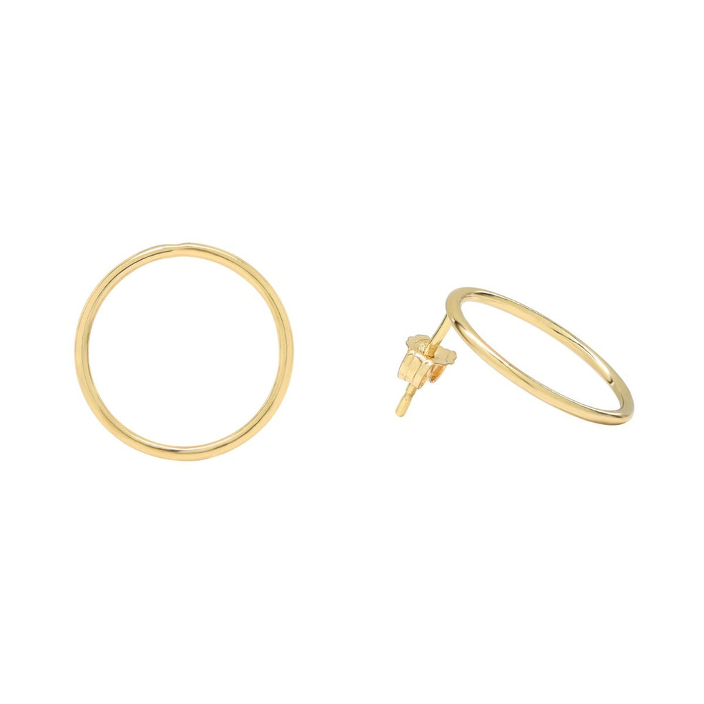 Thin Circle Outline Studs in Gold