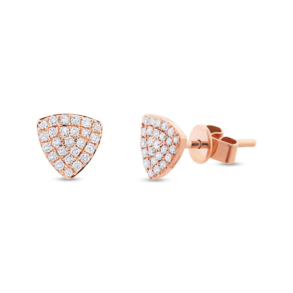 Diamonds Pave Rounded Triangle Stud Earring