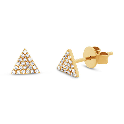 10K Solid Gold Single CZ Triangle Prong Studs
