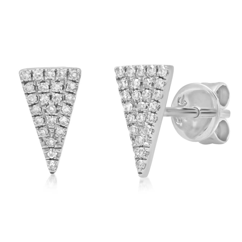 Diamonds Pave Elongated Triangle Stud Earring