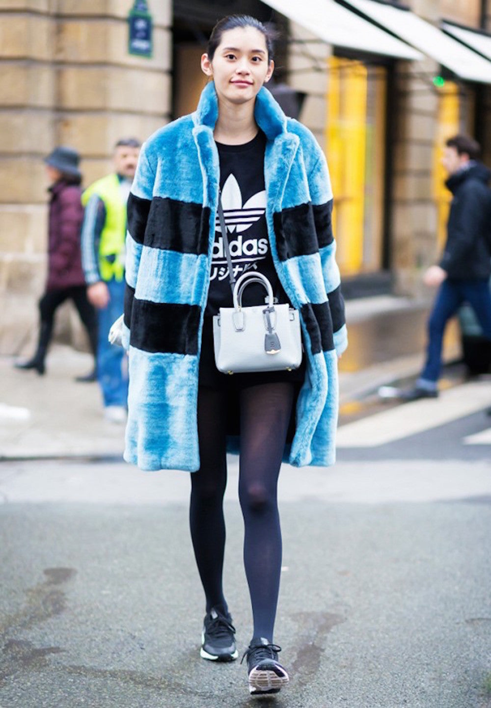 New York Fashion Week Spring 2015 Street Style - blue fur coat