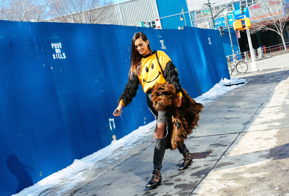 New York Fashion Week Spring 2015 Street Style - statement sweater and fur coat