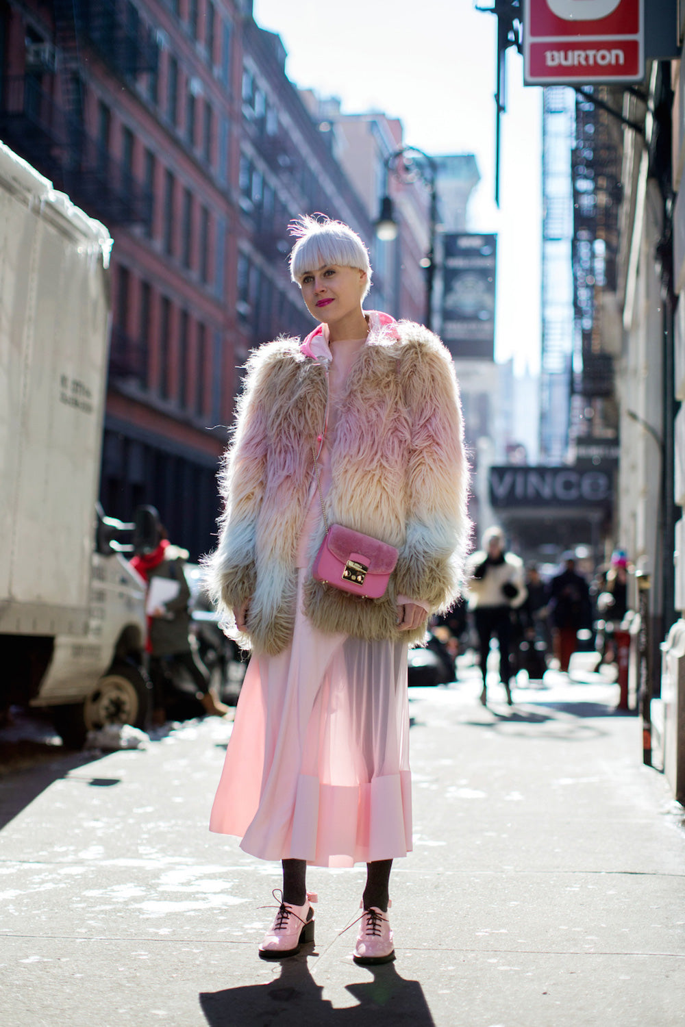 New York Fashion Week Spring 2015 Street Style - fur coat