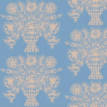 Meadow: Vase Block Print in Blue