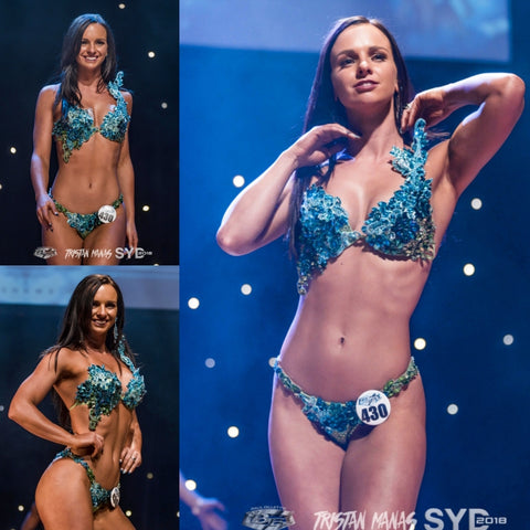 Blue and Green WBFF Couture Competition Bikini, Bikini Diva