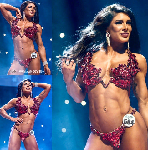 Amanda Mathews Red WBFF Couture Competition Bikini Fitness Diva Pro Card Winner