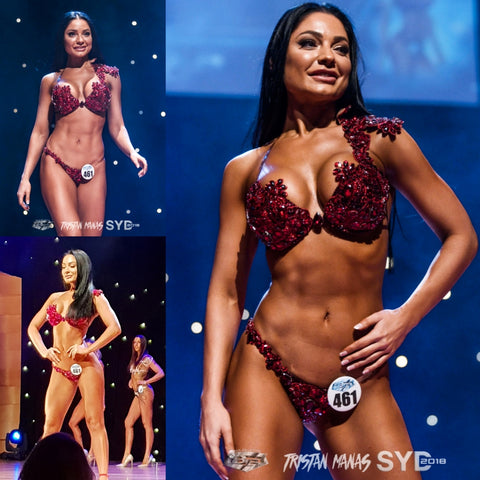 Red WBFF Couture Competition Bikini Sydney 2018