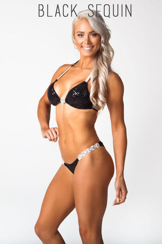 Black fitness competition bikini, Lauren simpson