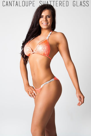 orange fitness competition bikini